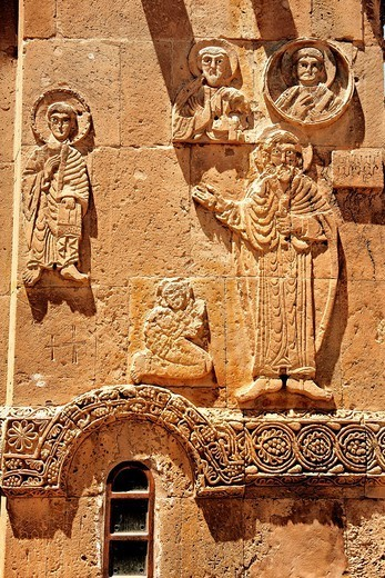 Bas Releif sculptures with scenes from the Bible on the outside of the 10th century Armenian Orthodox Cathedral of the Holy Cross on Akdamar Island, Lake Van Turkey 29 : Stock Photo