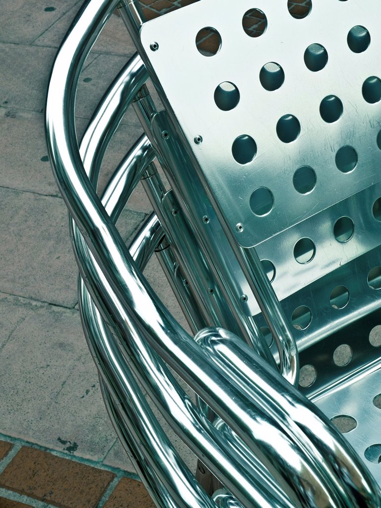 Stock Photo: 1566-1264810 metallic chair detail  Bilbao, Biscay, Basque Country, Spain