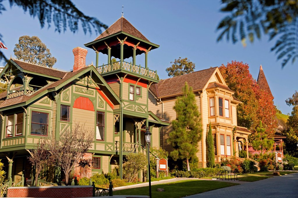 Stock Photo: 1566-1265046 Bushyhead House and Sherman Gilbert House, victorian architecture of Heritage Park, San Diego, California, United States of America, USA