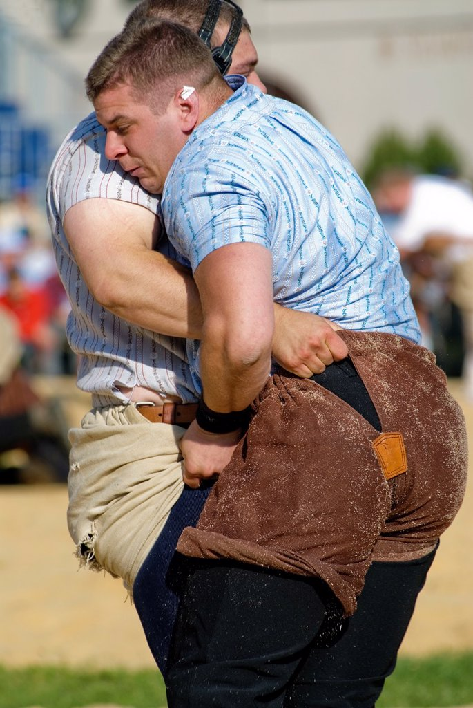Stock Photo: 1566-1266702 Schwingen (Swiss wrestling) at folk festival in Silvaplana, Switzerland
