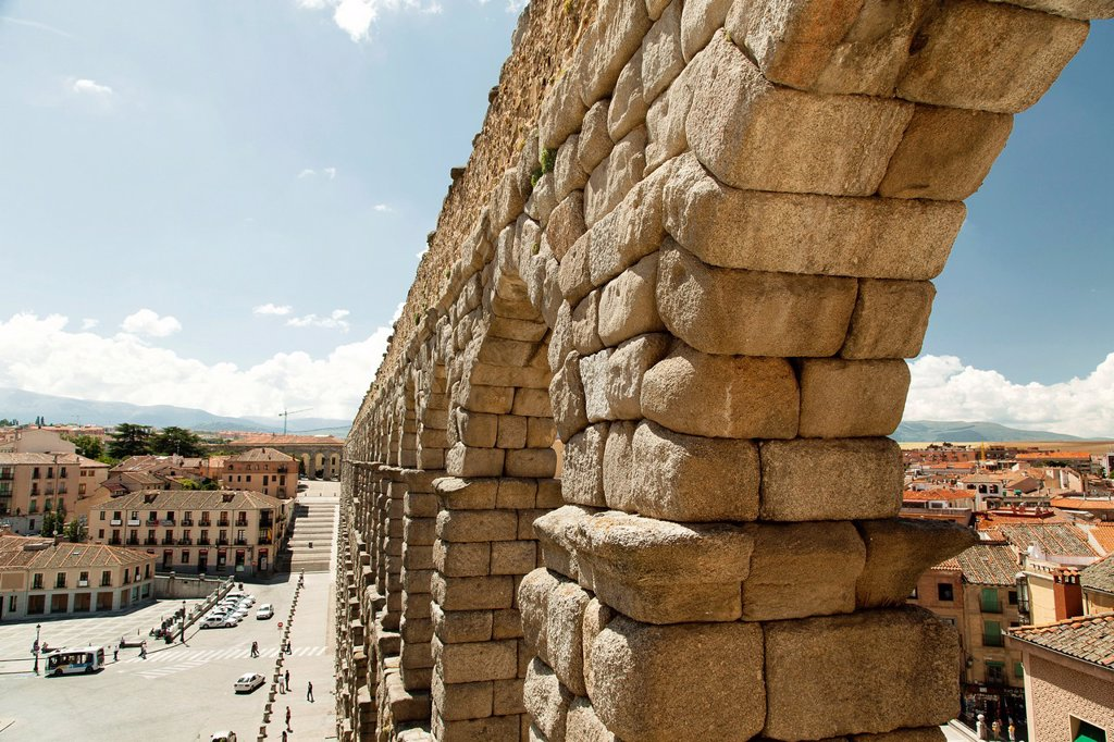Antique Roman aqueduct, Segovia, Segovia Province, Spain : Stock Photo