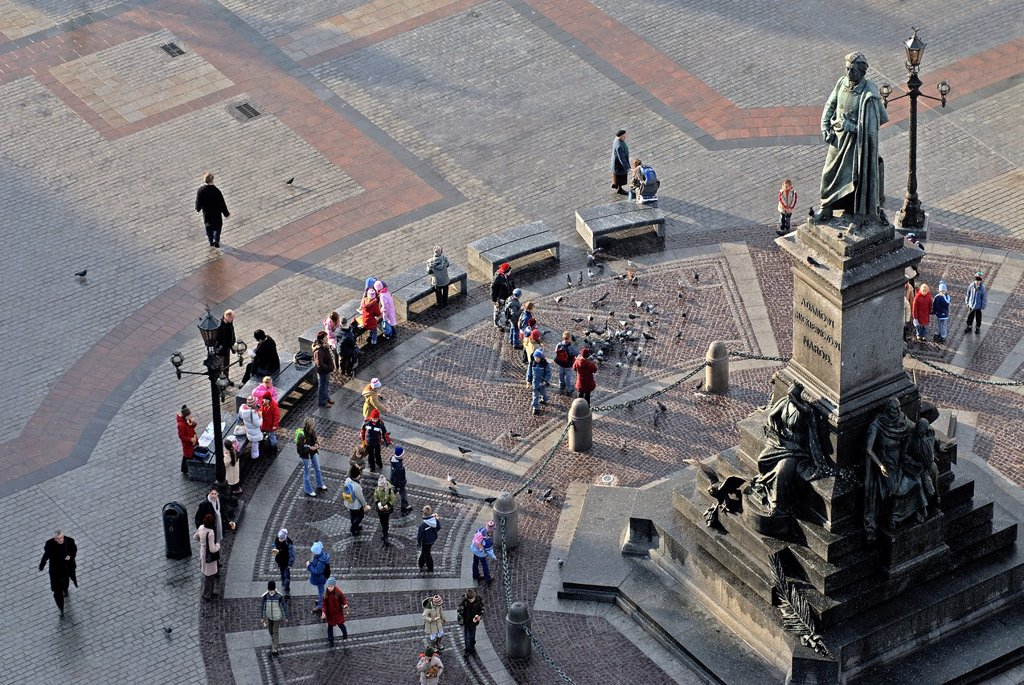 Stock Photo: 1566-1268513 Mickiewicz statue seen from the top of St. Mary´s Basilica´s tower, Krakow, Poland, Central Europe