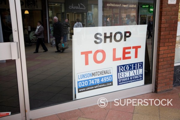 Stock Photo: 1566-1268699 Empty shop with To Let estate agent sign, Newmarket, Suffolk, England
