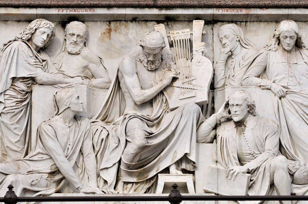 Stock Photo: 1566-1269175 London, England, UK. Albert Memorial in Kensington Gardens [1872] Freize of Parnassus: Virgil, Pythagoras, Dante, Homer, Chaucer, Shakespeare, Milton.