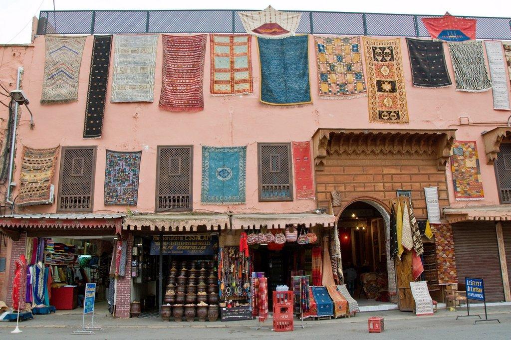 Stock Photo: 1566-1270215 Morocco, Marrakech, carpets