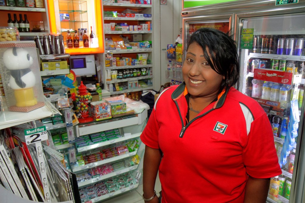 Stock Photo: 1566-1271455 Singapore, Kallang Road, Asian, woman, 7-Eleven, convenience, store, uniform, employee, manager, job,