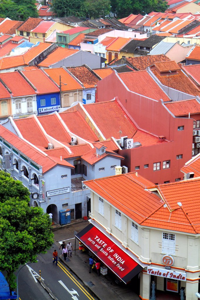 Stock Photo: 1566-1271732 Singapore, Little India, aerial, two-story, storey, shophouses, shophouse, red clay tile roofs, roof,