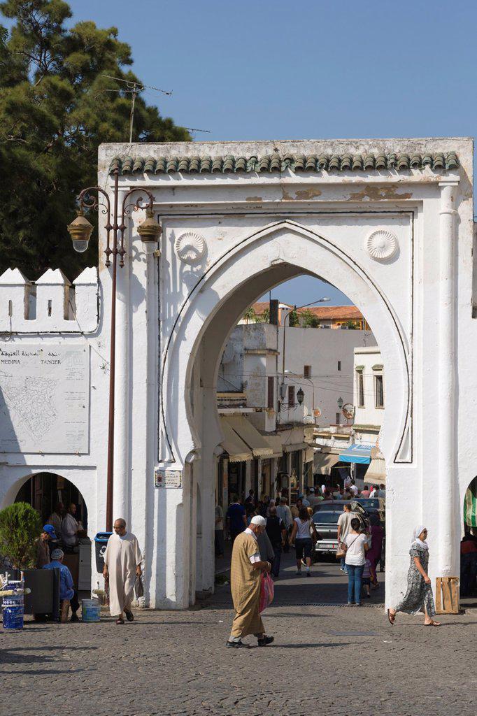 Stock Photo: 1566-1274149 Gates to Medina, old city, Tangier, Tanger, Morocco.