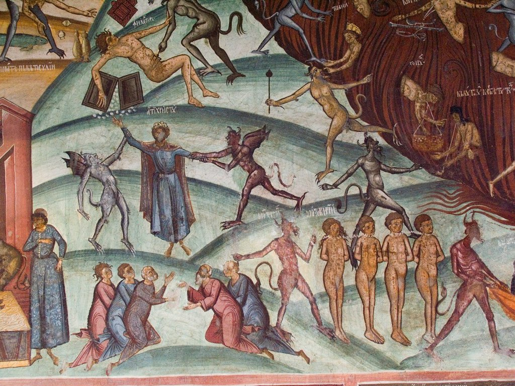 Stock Photo: 1566-1276852 europe, romania, walachia, horezu monastery, fresco, doomsday.