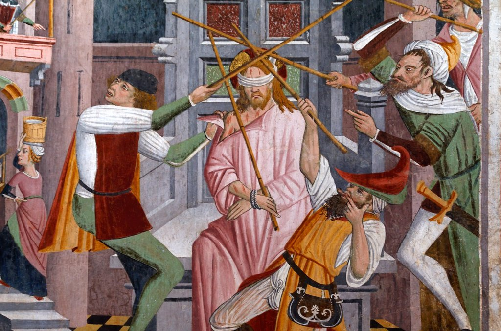 Christ Beaten on Orders of Herod Fresco (1492-1530) Notre Dame des Fontaines La Brigue Roya Valley Alpes-Maritimes France : Stock Photo