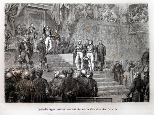 France, History, 19th Century - Louis-Philippe prêtant sermant devant la Chambre des Députés : Stock Photo