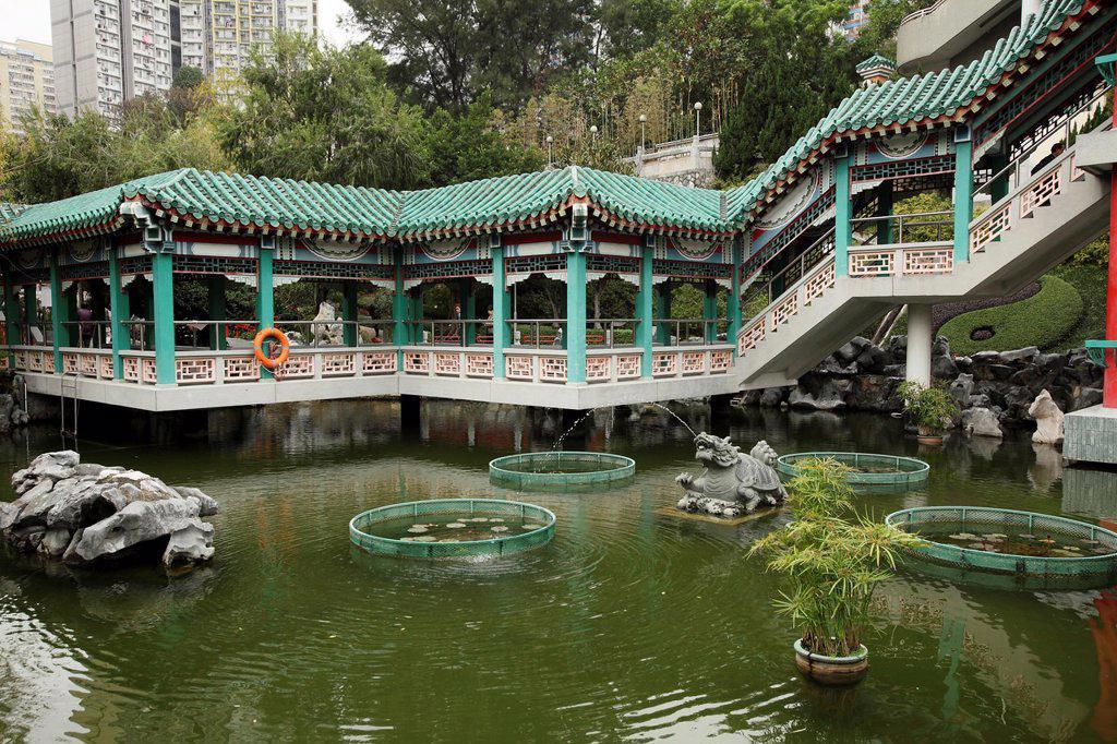 Garden of Wong Tai Sin Temple, Wong Tai Sin district, Kowloon, Hong Kong, China, Asia : Stock Photo