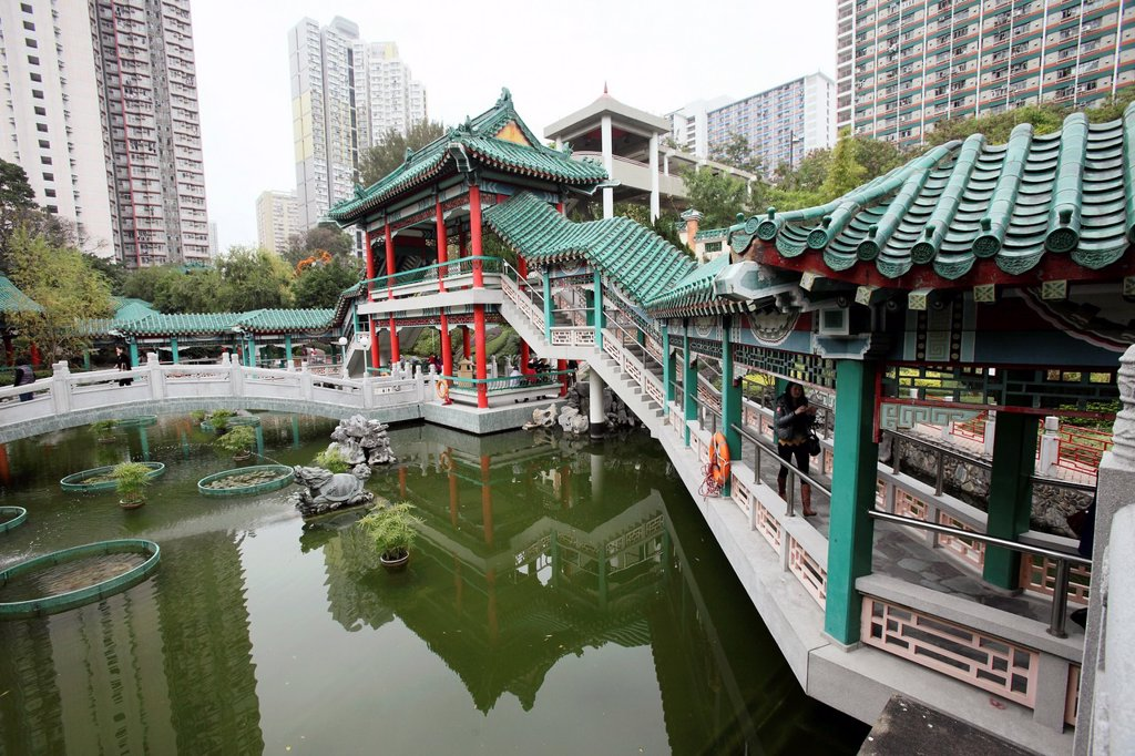 Stock Photo: 1566-1279593 Garden of Wong Tai Sin Temple, Wong Tai Sin district, Kowloon, Hong Kong, China, Asia