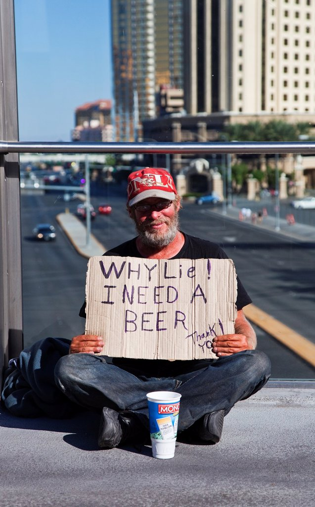 A Beggar in the Streets of Las Vegas. : Stock Photo