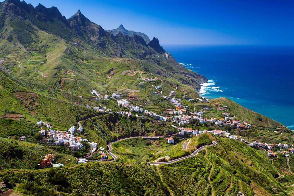 Stock Photo: 1566-1285803 Taganaga village and cliffs. Santa Cruz de Tenerife, Tenerife, Canary Islands, Atlantic Ocean, Spain.