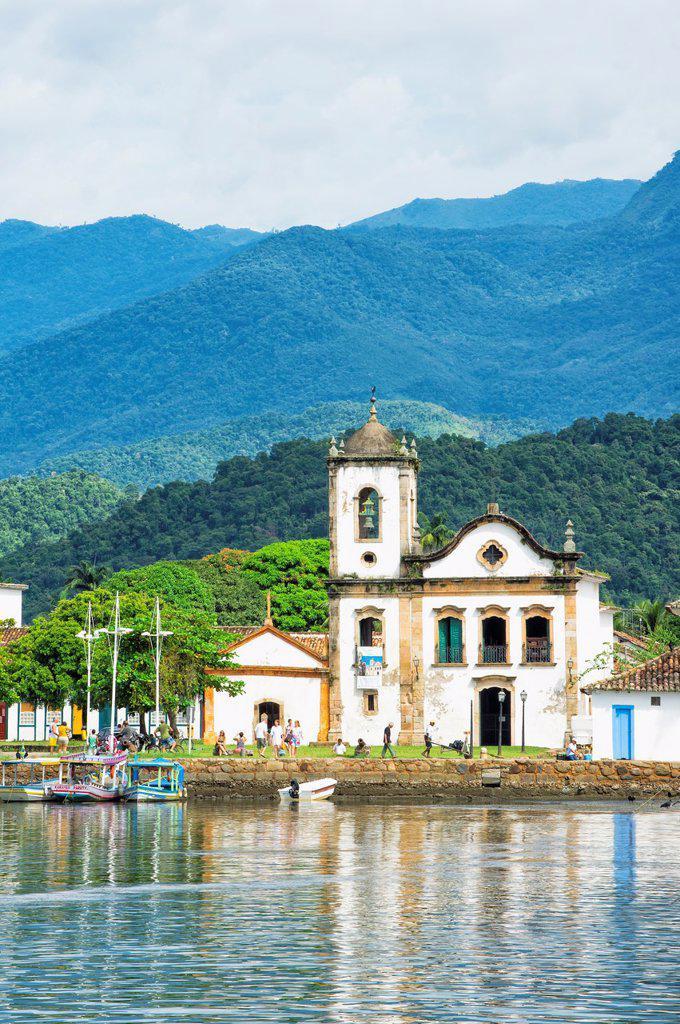 Santa Rita Church, Paraty, Rio de Janeiro state, Brazil. : Stock Photo