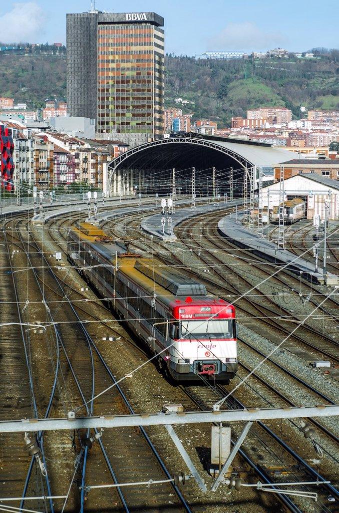 Stock Photo: 1566-1286153 Railways of Abando station, Biscay, Bilbao, Basque Country, Spain.