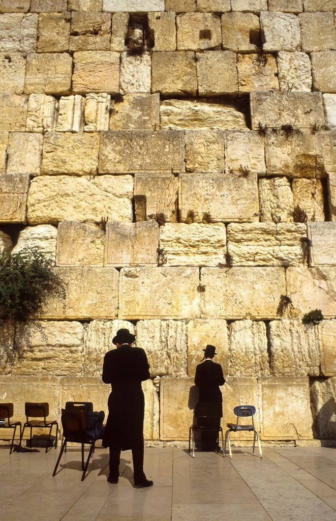Stock Photo: 1566-1287752 Two praying jews at the Wall at Jerusalem, Israel