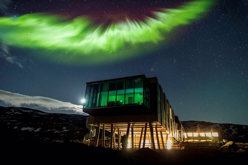 Stock Photo: 1566-1293026 Aurora borealis over Hotel ION, located by Nesjavellir Power Plant, Iceland.