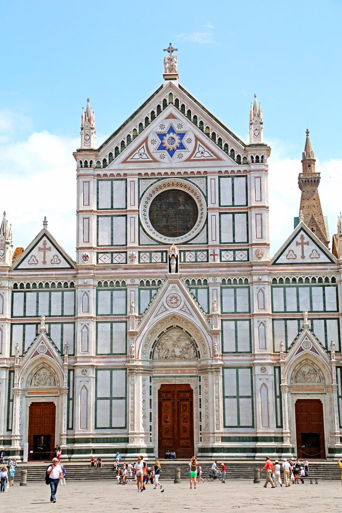 The marble front of the Basilica Santa Croce in Florence Italy. : Stock Photo