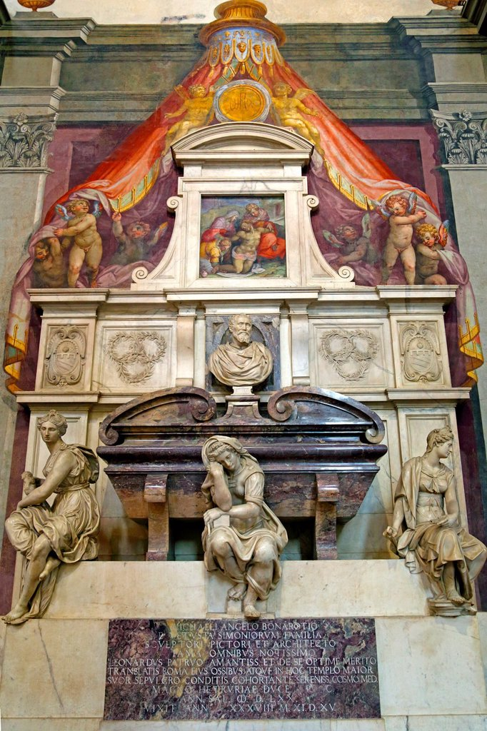 Stock Photo: 1566-1295026 The tomb of Michelangelo in Basilica Santa Croce in Florence Italy.