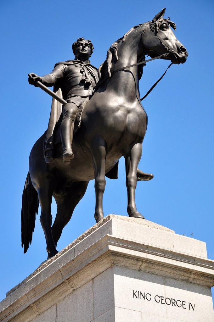 London, England, UK. Statue (1843: Sir Francis Chantrey) of King George IV (1762-1830) in Trafalgar Square. : Stock Photo
