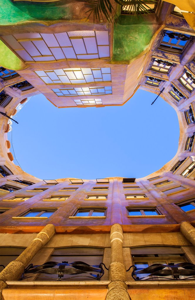 Stock Photo: 1566-1299111 View of inner courtyard, Casa Mila, La Pedrera, Barcelona, Catalonia, Spain.