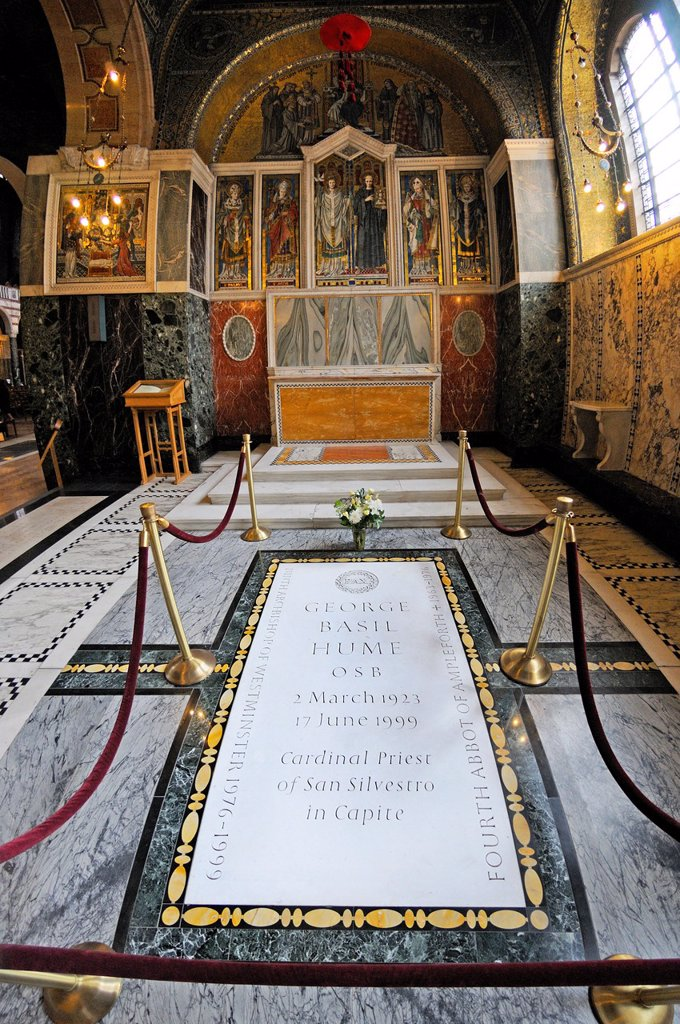 Stock Photo: 1566-1300719 London, England, UK. Westminster Cathedral. Chapel of St Gregory and St Augustine - Tomb of Cardinal Basil Hume.