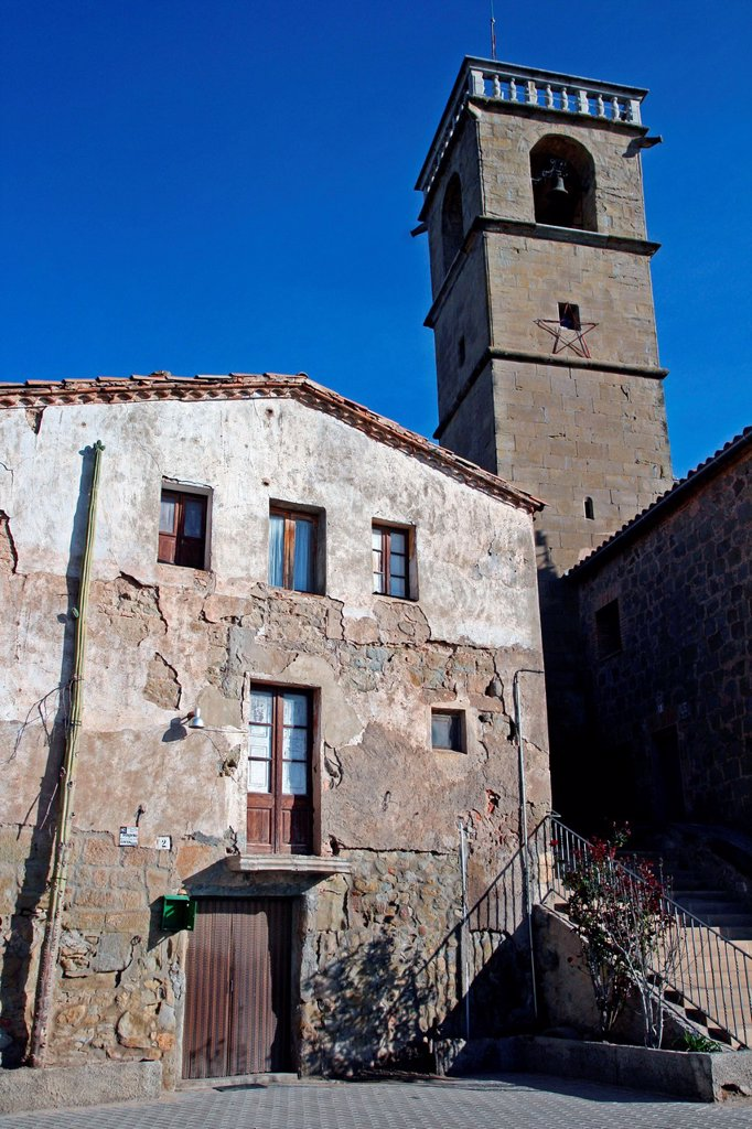 bell tower of St. Michael's church, Castelladrall, Bergada, Catalonia, Spain. : Stock Photo