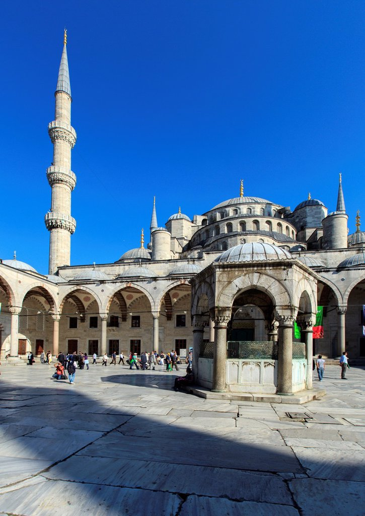 The Sultan Ahmed Mosque (Sultanahmet Camii) is an historic mosque in Istanbul. The mosque is popularly known as the Blue Mosque for the blue tiles adorning the walls of its interior. : Stock Photo