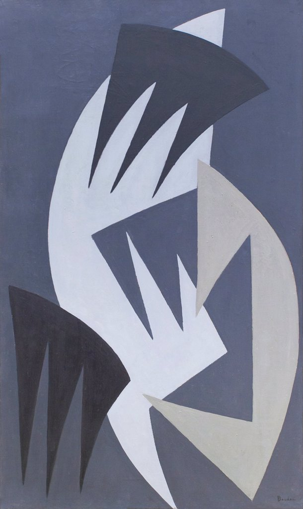Ricercare IX, Enrico Bordoni, 1958, oil on canvas, National gallery of modern art, Rome, Italy. : Stock Photo