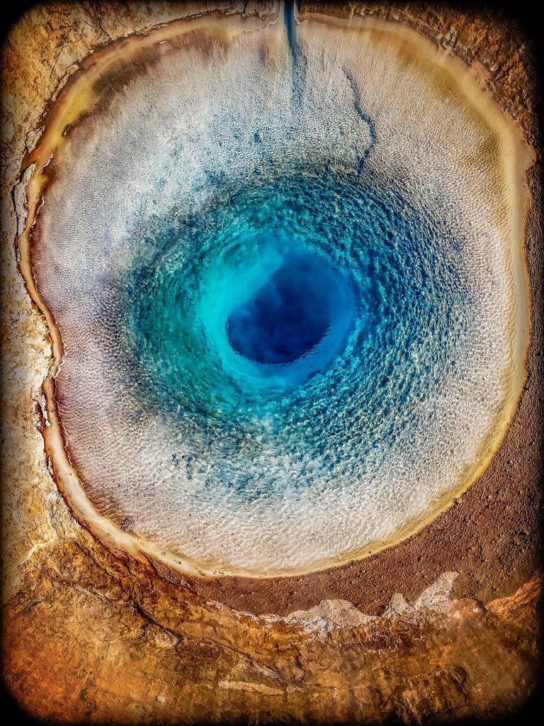 Stock Photo: 1566-13276816 Top view of Strokkur Geyser prior to erupting, Iceland. This image is shot with a drone.