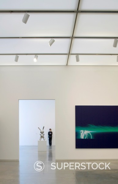 ICA _ THE INSTITUTE OF CONTEMPORARY ART, 100 NORTHERN AVENUE, BOSTON, USA, DILLER SCOFIDIO + RENFRO, INTERIOR, GALLERY WITH LIGHTING. : Stock Photo