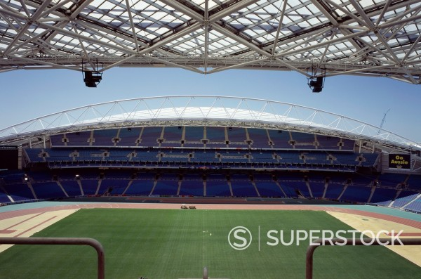 Stock Photo: 1566-1345679 SYDNEY OLYMPICS, HOMEBUSH BAY, SYDNEY, AUSTRALIA, BLIGH LOBB SPORTS ARCHITECTURE, EXTERIOR, STADIUM AUSTRALIA _ VIEW FROM MAIN STAND ACROSS PITCH.