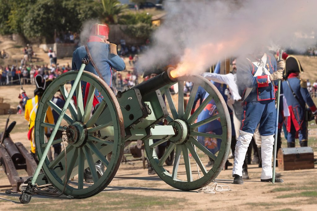 Stock Photo: 1566-1347930 French troops firing cannon on the battlefield during the Representation of the Battle of Bailen, Bailen, Jaen province, Andalusia, Spain.