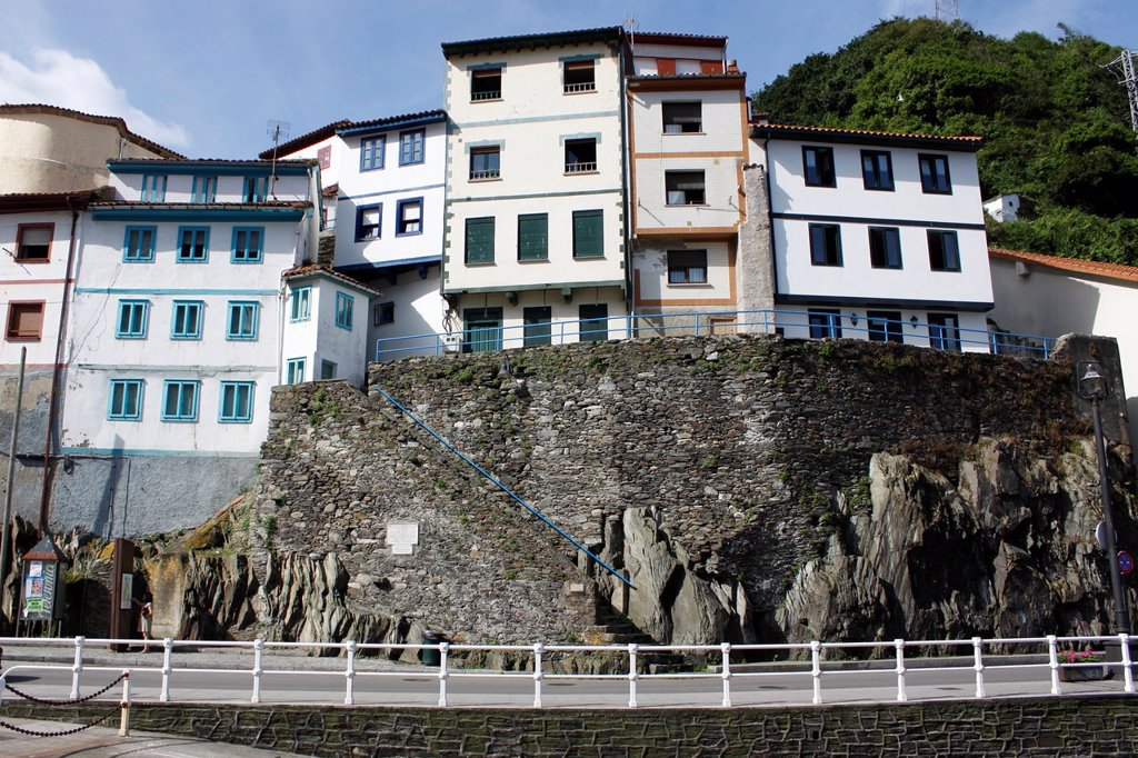 Stock Photo: 1566-1349663 Fishing village of Cudillero with colorful houses at the seaside, Asturias, Spain.