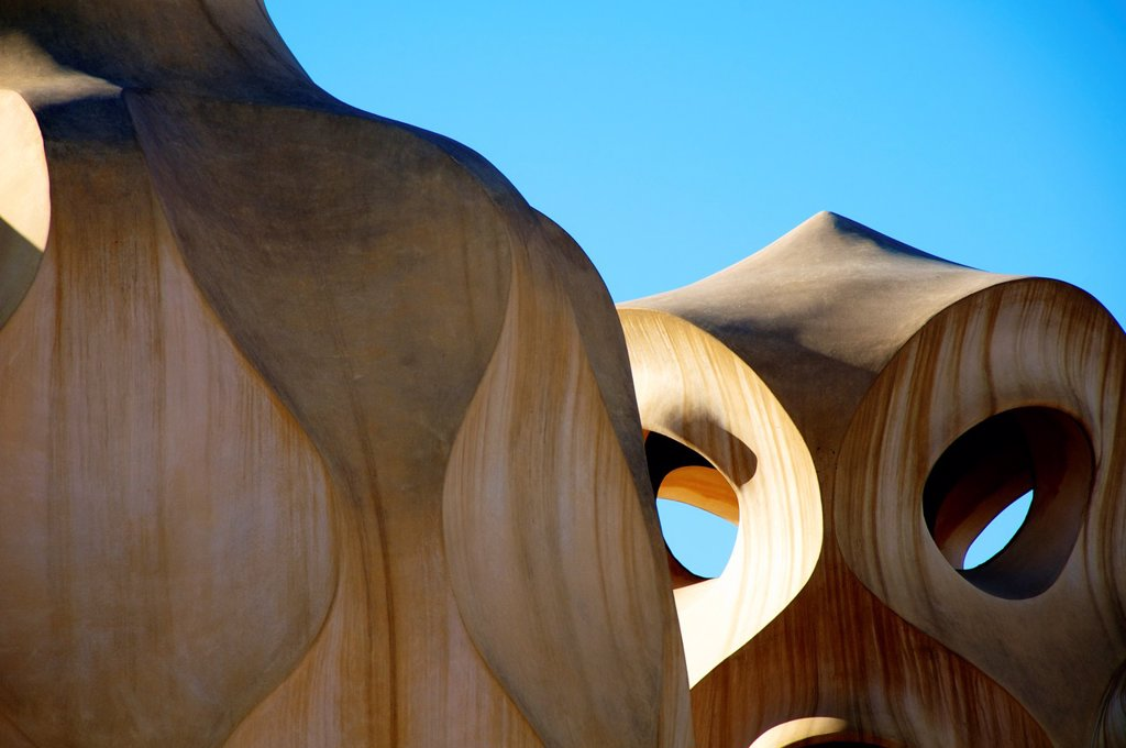 Stock Photo: 1566-1349686 BARCELONA, SPAIN - Casa Mila, or La Pedrera.