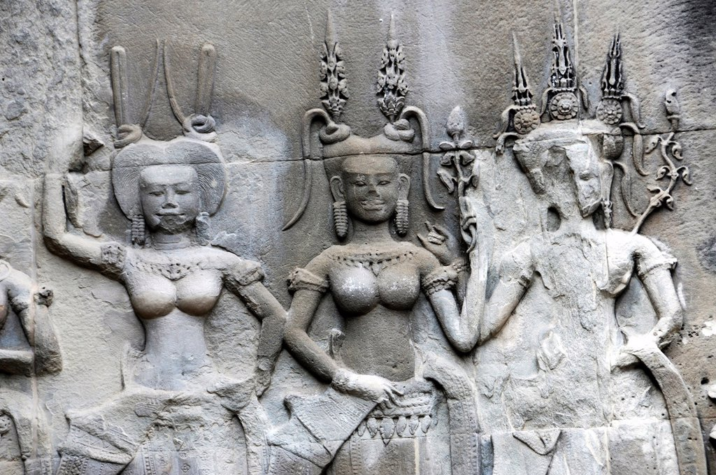 Stock Photo: 1566-1352147 Wall relief of temple dancers at Angkor Wat