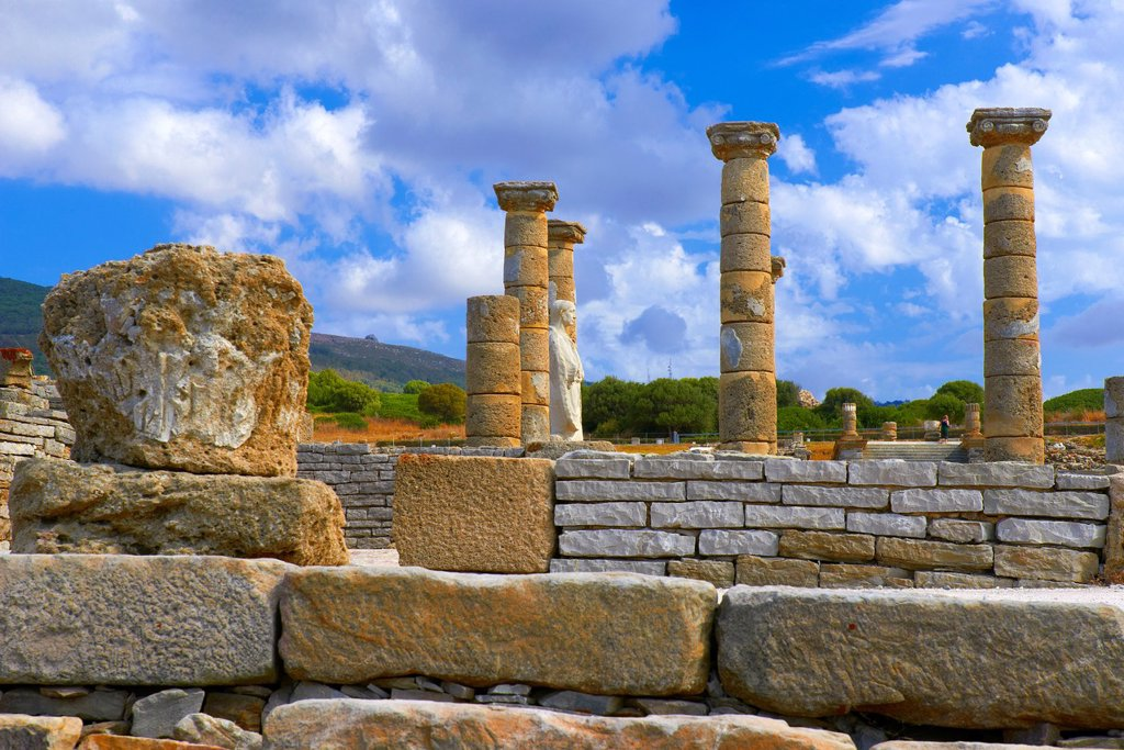 Stock Photo: 1566-1363597 Bolonia, Baelo Claudia, Archaeological site , old roman city , Strait of Gibraltar Natural Park, Costa de la Luz, Cadiz, Andalusia, Spain, Europe.