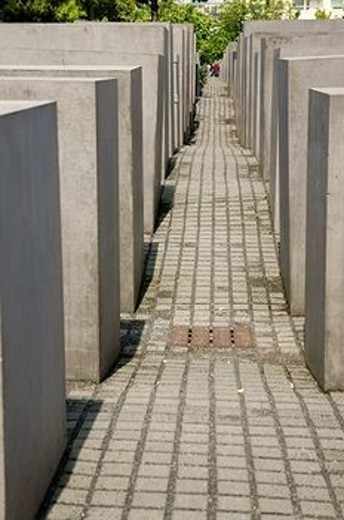 The Holocaust Memorial blocks in the center of the city. It reminds the murdered Jews of Europe. : Stock Photo