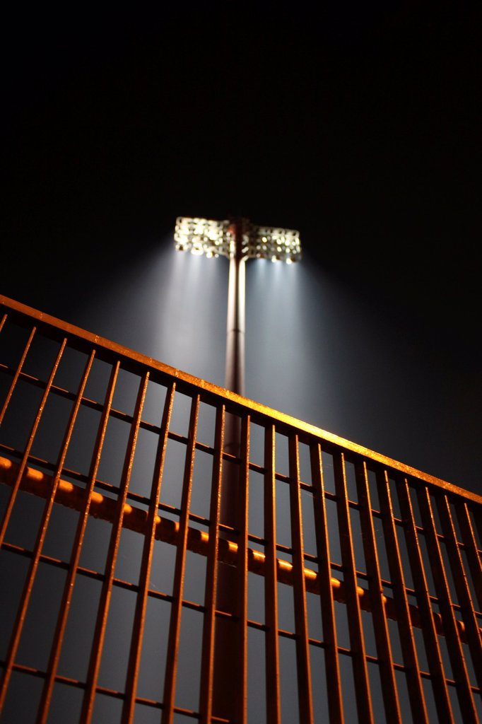 floodlights in flaminio sports stadium in rome italy. : Stock Photo