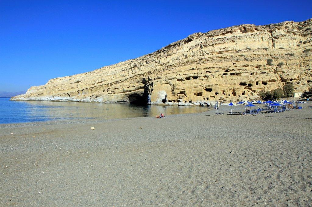 Matala beach, Crete, Greece. : Stock Photo
