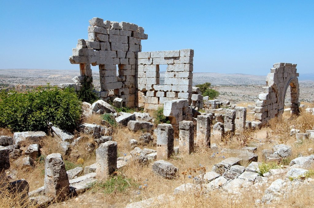 Ruins of the Church of Saint Simeon Stylites, Syria. : Stock Photo