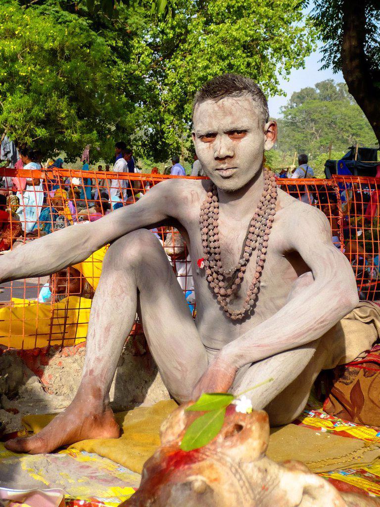 portrait of naked sadhu or naga sadhu in Rishikesh, India : Stock Photo