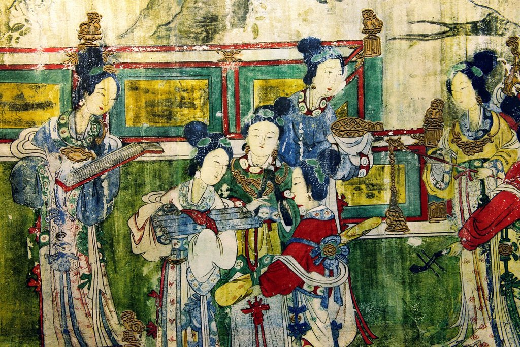 Stock Photo: 1566-14198603 Song Dynasty. Mural detail showing female musicians. From the Holy Mother Hall aka Temple of the Goddess of the Jinci Temple, Taiyuan, Shanxi, China.