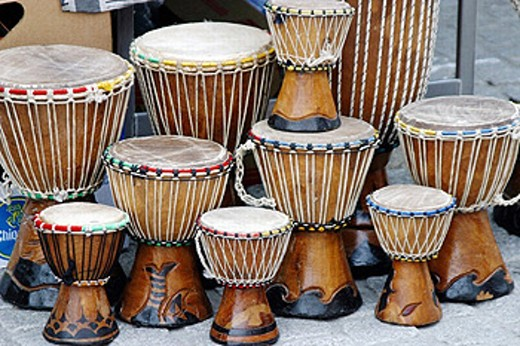Drums, African souvenirs : Stock Photo