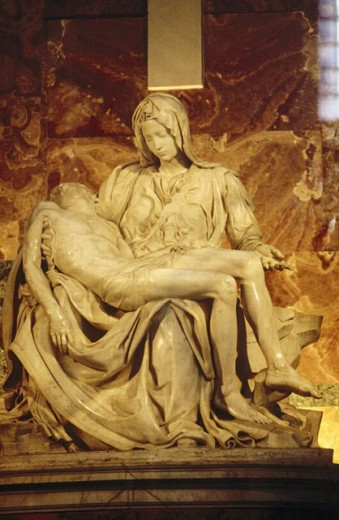Stock Photo: 1566-248802 ´Pietà´, marble sculpture by Michelangelo (1499). St. Peter´s Basilica, Vatican City. Rome. Italy