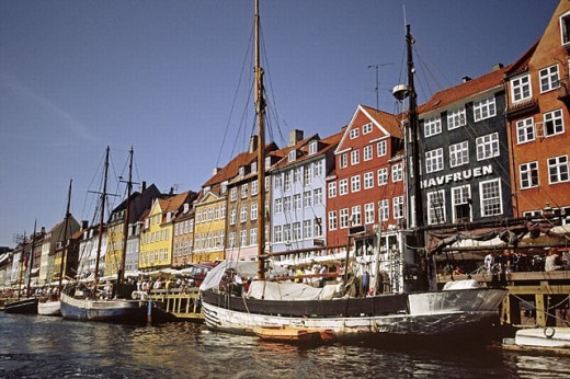 Stock Photo: 1566-250830 Boats moored in the Nyhavn (´New Harbor´), Copenhagen. Denmark