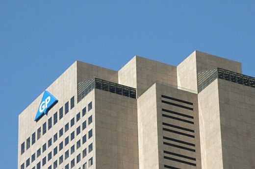 Stock Photo: 1566-251335 Tall downtown building in Atlanta (Georgia, USA) world headquarters of Georgia Pacific Inc.
