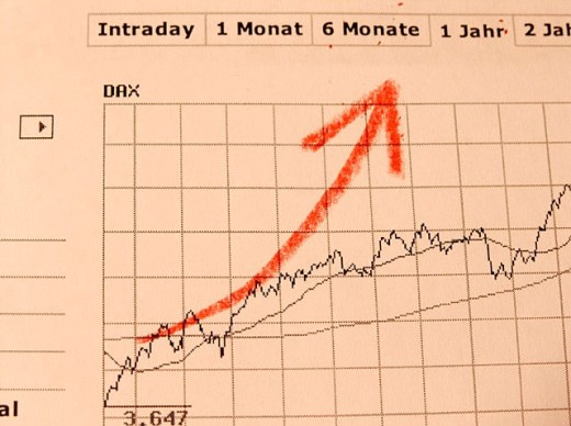 Dax charts with handpaintet red arrow. : Stock Photo